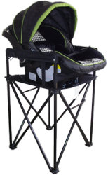 The Hollett Travel Dual-Mate highchair is the only portable highchair that holds a toddler and easily converts into an infant carrier stand.